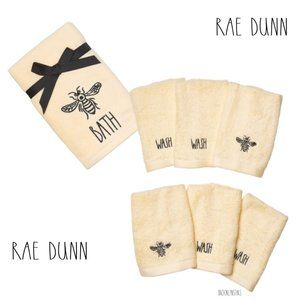 "RAE DUNN ""BATH"" Wash Cloth Hand Towel Set Yellow"